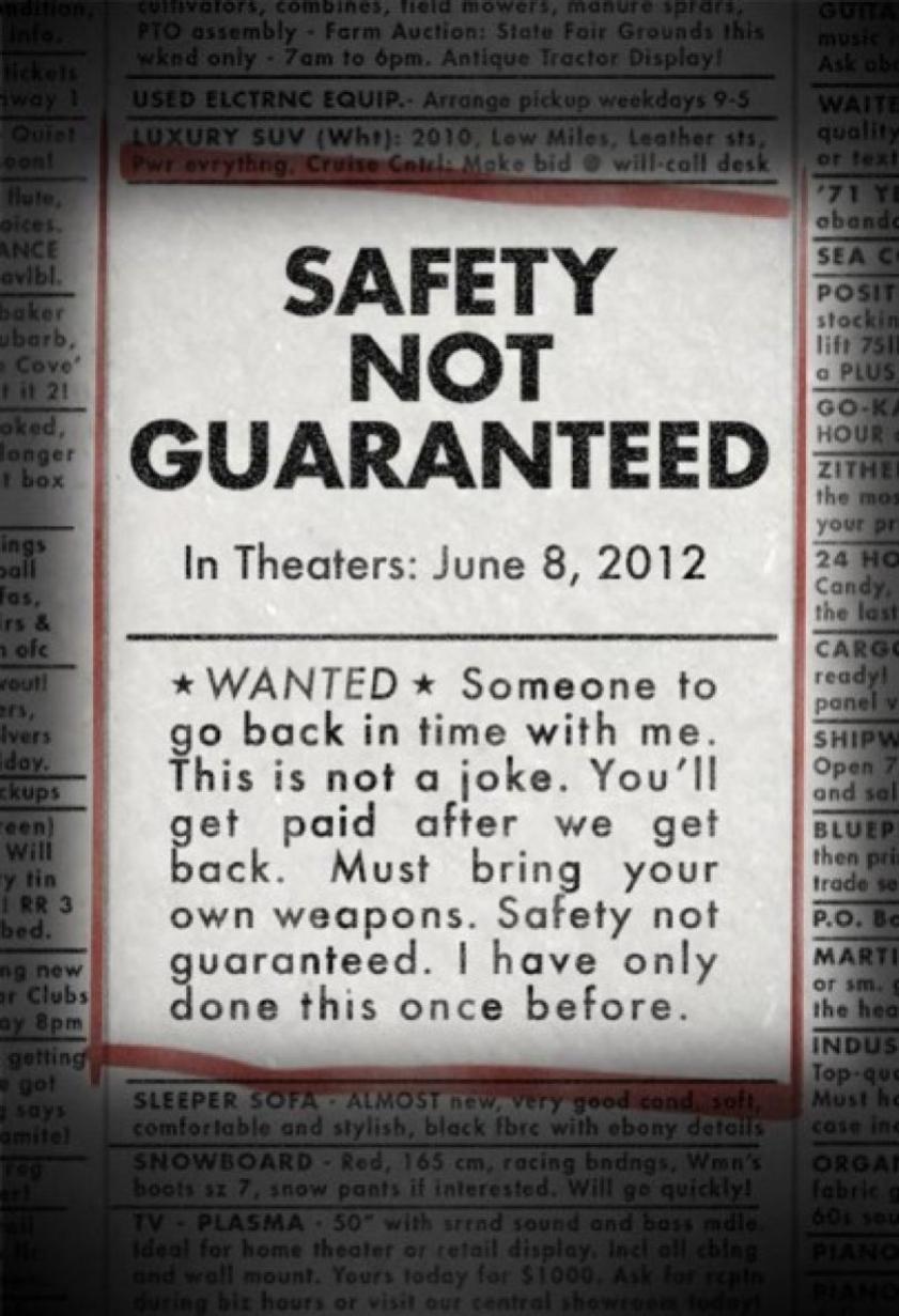 Safety Not Guaranteed - Movie Poster #1 (Original)