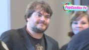 Jack Black greets fans while using ATM in LA