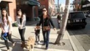 Kyle Richards Takes Kids, Pooch for Walk